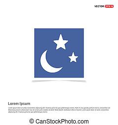 blauwe ster, maan, fotokader, -, pictogram
