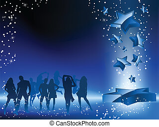 blauwe ster, menigte, dancing, flyer., feestje