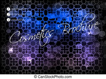 blauwe ster, paarse , schoonheidsmiddel, vector, zwarte achtergrond, informatieboekje , ontwerp