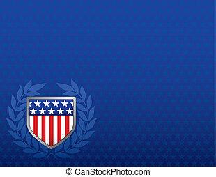 blauwe ster, schild, achtergrond, wit rood