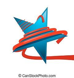 blauwe ster, vrijstaand, achtergrond., lint, vector., wit rood