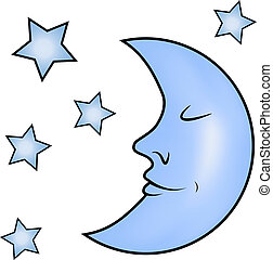 blauwe , sterretjes, maan