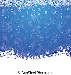 blauwe , sterretjes, sneeuw, achtergrond, herfst, witte