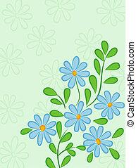 blauwe , stijl, daisies., abstract, groene, retro, achtergrond