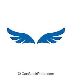 blauwe , stijl, engel, eenvoudig, pictogram, paar, vleugels