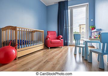 blauwe , stijl, kamer, eenvoudig, idee, baby