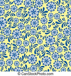 blauwe , stijl, model, seamless, gzel, floral, russische