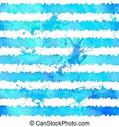 blauwe , stijl, model, strepen, seamless, watercolor
