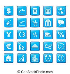 blauwe , stijl, set, pictogram, markets.