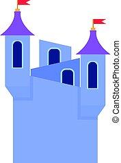 blauwe , stijl, torens, vlaggen, pictogram, kasteel, spotprent