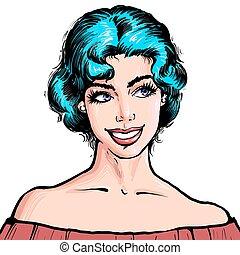 blauwe , stijl, vrouw, kunst, beatiful, illustratie, jonge, knallen, haar, kort, aantrekkelijk, achtergrond, glimlachen, verticaal, komisch, witte , retro