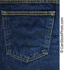 blauwe stof, denim, -, textuur, zak