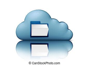 blauwe , storage., concept., gegevensverwerking, vrijstaand, illustratie, computer, bestand, witte , 3d, folder., wolk, pictogram