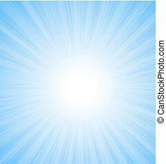 blauwe , stralen, zon, abstract, hemel, achtergrond
