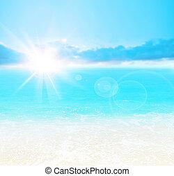 blauwe , strand, achtergrond