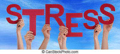 blauwe , stress, woord, mensen, velen, hemel, holdingshanden, rood