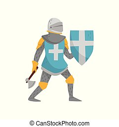 blauwe , strijder, middeleeuws, ridder, karakter, kruis, illustratie, achtergrond, vector, vasthouden, bijl, gepanzert, witte , schild