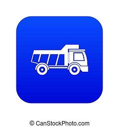 blauwe , stuk speelgoed vrachtwagen, pictogram, digitale
