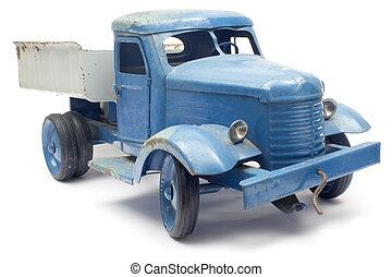 blauwe , stuk speelgoed vrachtwagen