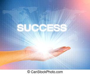 blauwe , succes, licht, hand, achtergrond, tekst, technologie
