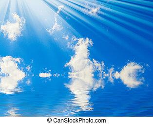 blauwe , sunbeams, wolken, prachtig, sky.