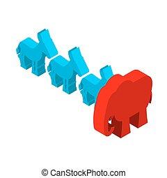 blauwe , symbolen, republicans., verenigd, donkey., usa, olifanten, politiek, verkiezingen, tegen, staten, vs, democraten, partij., rood