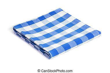 blauwe , tafelkleed, ineengevouwen , vrijstaand
