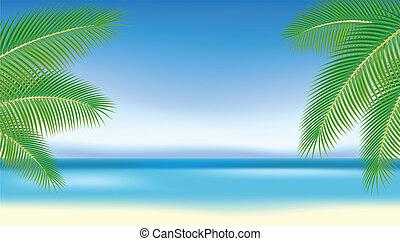 blauwe , takken, bomen, palm, tegen, sea.