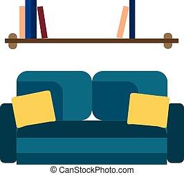 blauwe , taste, kleur, houten, sofa, illustratie, tekening, versiering, weinig, helder, vector, boekjes , plank, interieur, kleine, of, muur
