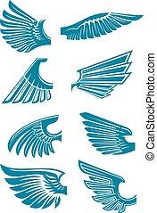 blauwe , tatoeëren, symbolen, ontwerp, open, vleugels
