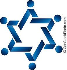 blauwe , teamwork, vorm, ster, logo