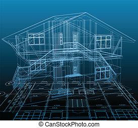 blauwe , technisch, woning, vector, achtergrond, draw.