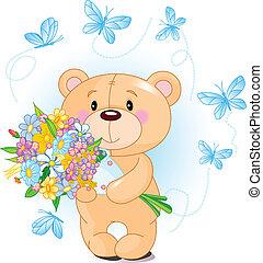 blauwe , teddy beer, bloemen