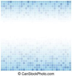 blauwe , tegels, centrum, achtergrond, langzaam verdwenen