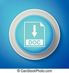 blauwe , teken., achtergrond., doc, knoop, vrijstaand, illustratie, lijn., vector, bestand, downloaden, cirkel, document, witte , pictogram