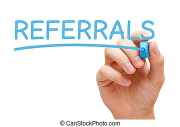 blauwe , teken, referrals