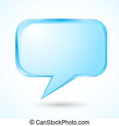 blauwe , tekstballonetje, op, licht, achtergrond