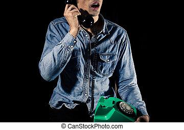 blauwe , telefoon, arbeider, kraag