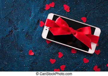blauwe , telefoon, beweeglijk, moderne, donker, achtergrond., rood, verfraaide, lint
