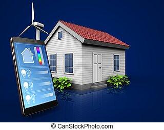 blauwe , telefoon, op, donker, toepassing, 3d