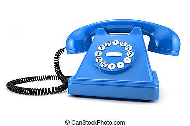 blauwe , telefoon, ouderwets