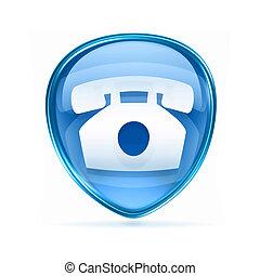 blauwe , telefoon, vrijstaand, achtergrond., witte , pictogram