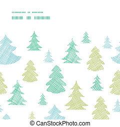 blauwe , textiel, model, seamless, bomen, horizontalframe, silhouettes, groene achtergrond, kerstmis