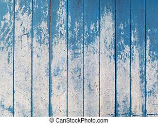 blauwe , textuur, van, ruige , houten hek, raad, achtergrond