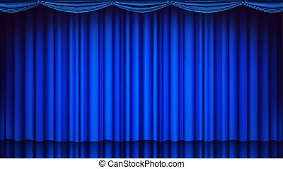 blauwe , theater, bioscoop, opera, theater, illustratie, scene., realistisch, vector., gordijn, toneel, zijde, of, lege