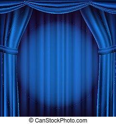 blauwe , theater, bioscoop, opera, theater, illustratie, scene., realistisch, vector., gordijn, of