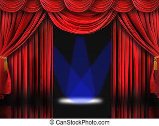 blauwe , theater, stip belicht, rood, toneel