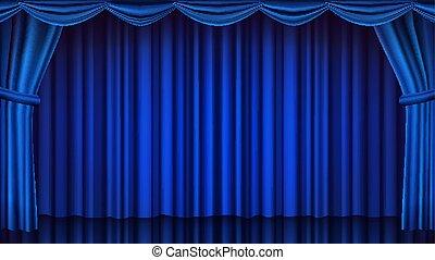blauwe , theater, vector., drapes, opera, bioscoop, theater, illustratie, scene., realistisch, gesloten, gordijn, of