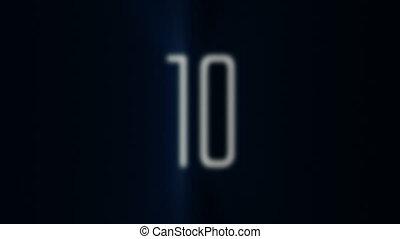 blauwe , tien, aftellen, licht, 1, r