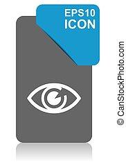 blauwe , tien, oog, eps, vector, zwarte achtergrond, witte , wijzer, pictogram